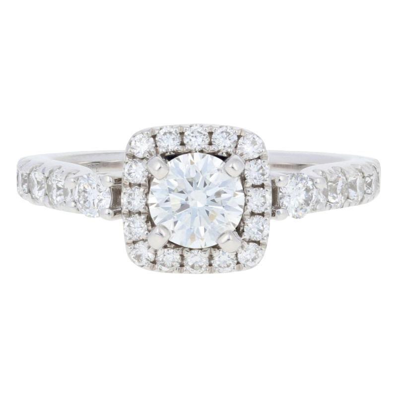 Vera Wang Love 1.12 Carat Diamond and Sapphire Ring, 14 Karat Gold Halo GIA