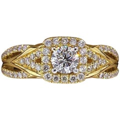 Vera Wang Love Diamond Engagement Ring 1.00 TCW 14 Karat Yellow Gold