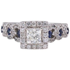 Vera Wang Love Ring Diamond and Sapphire 1.00 Carat 14 Karat White Gold