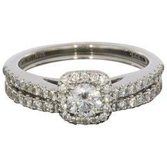 Vera Wang Love White Gold Round Diamond Halo Engagement Ring and Band Set