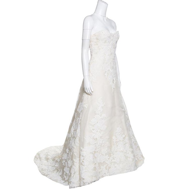 Gray Vera Wang Luxe Cream Floral Lace Applique Embellished High Low Wedding Gown M For Sale