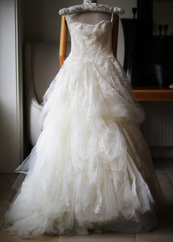 32f99a41a1de3 White By Vera Wang One Shoulder Lace Wedding Dress