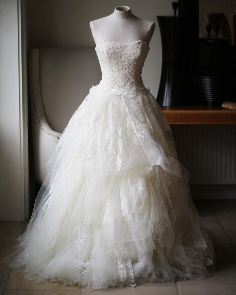Vera Wang Luxe Embellished Lace And Tulle Wedding Dress For Sale At