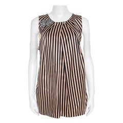Vera Wang Monochrome Striped Cotton Silk Crystal Embellished Sleeveless Top M