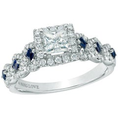 "Vera Wang Princess Diamond Engagement ""Love"" Ring 1.00 Carat Blue Sapphires"