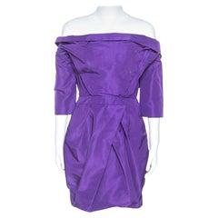 Vera Wang Purple Silk Crystal Embellished Off Shoulder Dress L