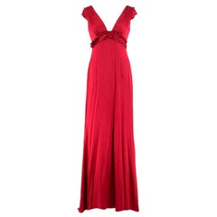 Vera Wang Red V-neck Silk Gown US 6