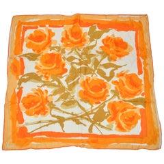 """Vera Warm Shades of """"Tangerine Rose Blooms"""" Silk Blend Scarf"""
