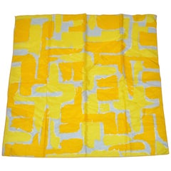 "Vera Whimsical ""Shades of Banana Yellow"" Geometric Abstract Silk Scarf"