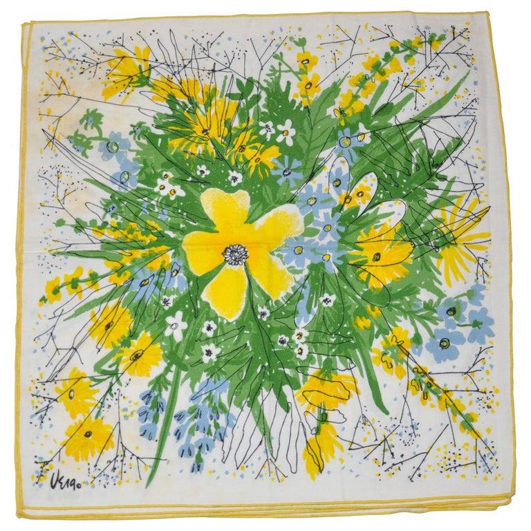 """Vera Wonderful Vivid set of 4 """"Bursting Floral"""" Table Napkins For Sale"""