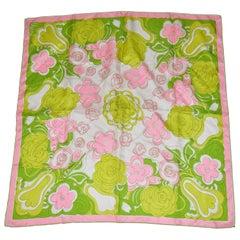"""Vera's Pink Border """"Vintage Spring Blooming"""" Silk Scarf"""