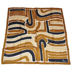 """Vera's Shades of Bronze Abstract """"Waves"""" Silk Scarf"""