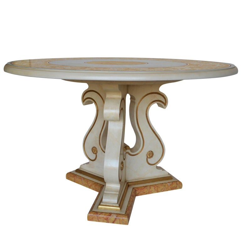 Italian Classic Round Dining Table Scagliola Art Inlay Marbled Wood Base Gold Details For Sale