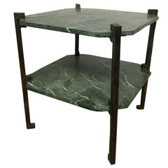 Verde Italia Italian Granite and Bronze End Table