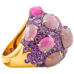 Verdi Fancy Color Sapphires Ring 21.50 Carat with Diamonds 18 Karat Gold