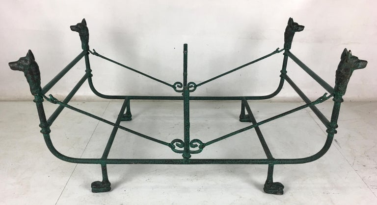 Giacometti style coffee tables with excellent scale and form in faux bronze Verdigris finish. Glass top is 16