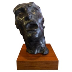 """Verdigris Bronze Mask """"Study of the Human Face"""" Sculpture by Auguste Rodin"""