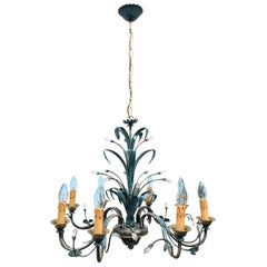 Verdigris Finished Painted Metal and Crystal Tole Chandelier, German, 1960s