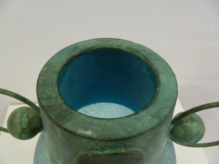 Verdigris Metal and Mouth Blown Turquoise Pulegoso Glass Deco Modern Floor Vase For Sale 6