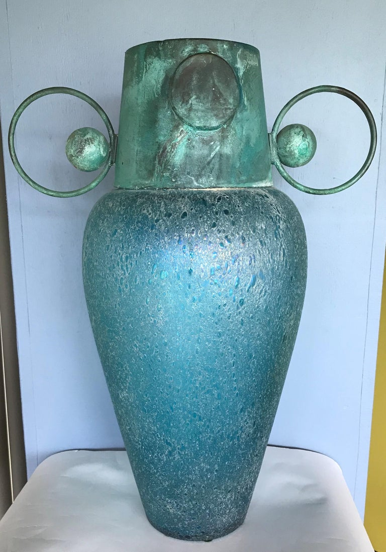 Verdigris Metal and Mouth Blown Turquoise Pulegoso Glass Deco Modern Floor Vase For Sale 7