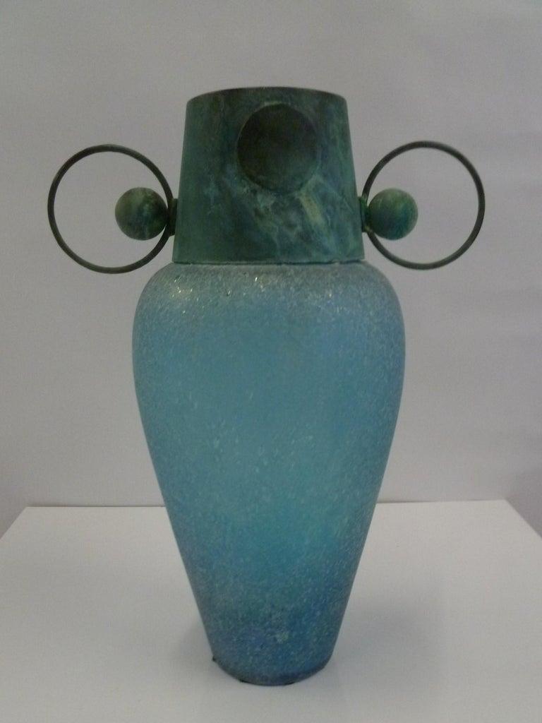 Art Deco Verdigris Metal and Mouth Blown Turquoise Pulegoso Glass Deco Modern Floor Vase For Sale