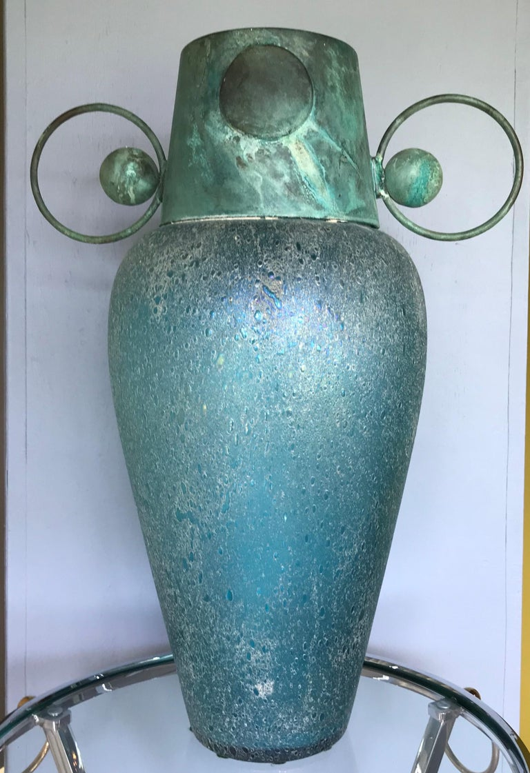 Verdigris Metal and Mouth Blown Turquoise Pulegoso Glass Deco Modern Floor Vase For Sale 1