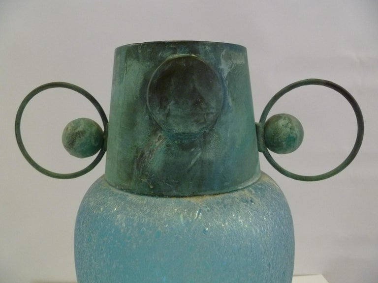 Verdigris Metal and Mouth Blown Turquoise Pulegoso Glass Deco Modern Floor Vase For Sale 2