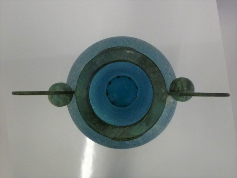 Verdigris Metal and Mouth Blown Turquoise Pulegoso Glass Deco Modern Floor Vase For Sale 4