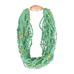 Verdura 14 Strand Emerald Torsade Necklace