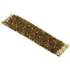 Verdura 18 Karat Yellow Gold Citrine, Peridot and Tourmaline Roundel Bracelet