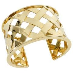Verdura 18 Karat Yellow Gold Criss Cross Cuff Bracelet