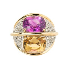Verdura 18k Gold and Diamond Dome Ring with Unheated Pink and Yellow Sapphires