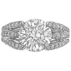 "Verdura 3.10 Carat Round Diamond ""Twin Blades"" Ring"