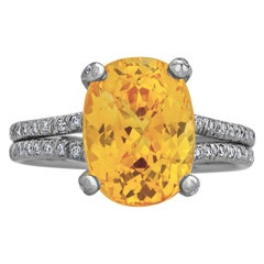 Verdura 5.70 Carat Orangish Yellow Cushion Cut Sapphire Diamond Platinum Ring