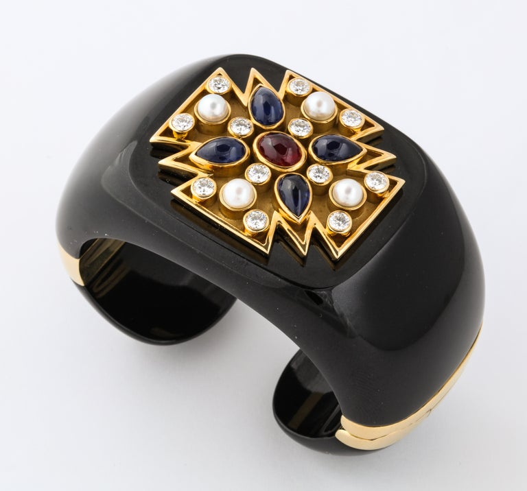 Verdura Black Jade Ruby Sapphire Pearl Diamond Maltese Cross Cuff Bracelet In Excellent Condition For Sale In Bal Harbour, FL