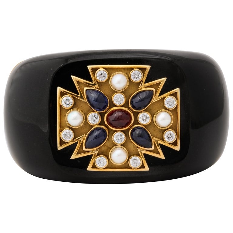 Verdura Black Jade Ruby Sapphire Pearl Diamond Maltese Cross Cuff Bracelet For Sale