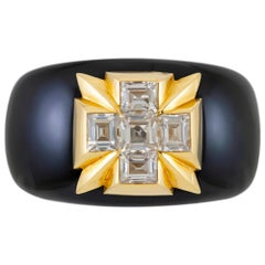 Verdura Black Jade with White Topaz Cuff