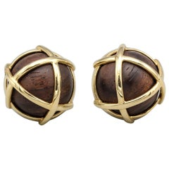 "Verdura ""Caged"" Cocobola Wood and Gold Earclips"