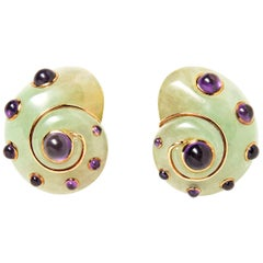 Verdura Carved Adventurine and Cabochon Amethyst Shell Ear Clips