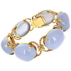 Verdura Chalcedony and Gold 'Pebble' Bracelet