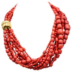Verdura Coral and 18 Karat Gold 9 Strand Torsade Necklace