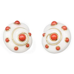 Verdura Coral and 18 Karat Gold Shell Earclips
