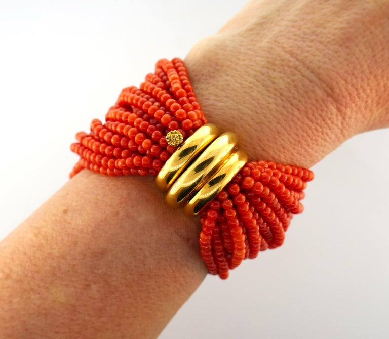 Verdura Coral Bead Multi Strand Bracelet with Yellow Gold Clasp In Excellent Condition For Sale In Beverly Hills, CA