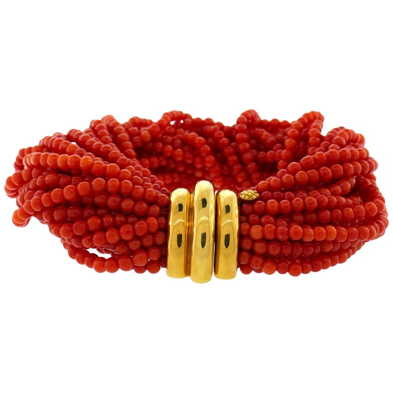 Verdura Coral Bead Multi Strand Bracelet with Yellow Gold Clasp For Sale