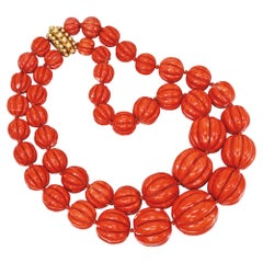 Verdura Impressive Coral Melon Beads Necklace