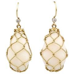 Verdura Coral Diamond and 18 Karat Gold Net Drop Earrings