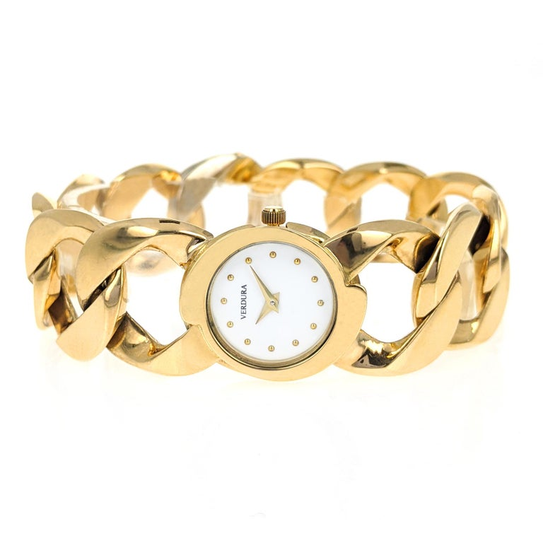 Verdura Curb Link Yellow Gold Watch Bracelet In Good Condition In New York, NY