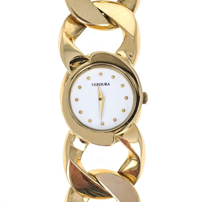 Verdura Curb Link Yellow Gold Watch Bracelet 1