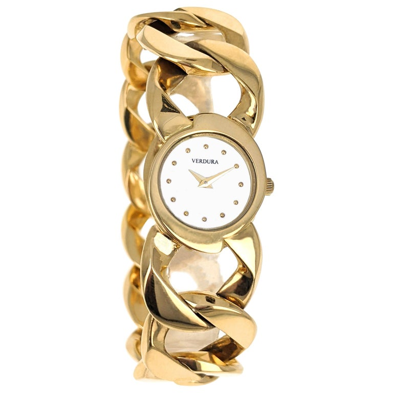 Verdura Curb Link Yellow Gold Watch Bracelet