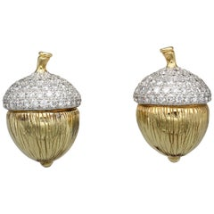 Verdura Diamond and 18 Karat Gold Acorn Earrings
